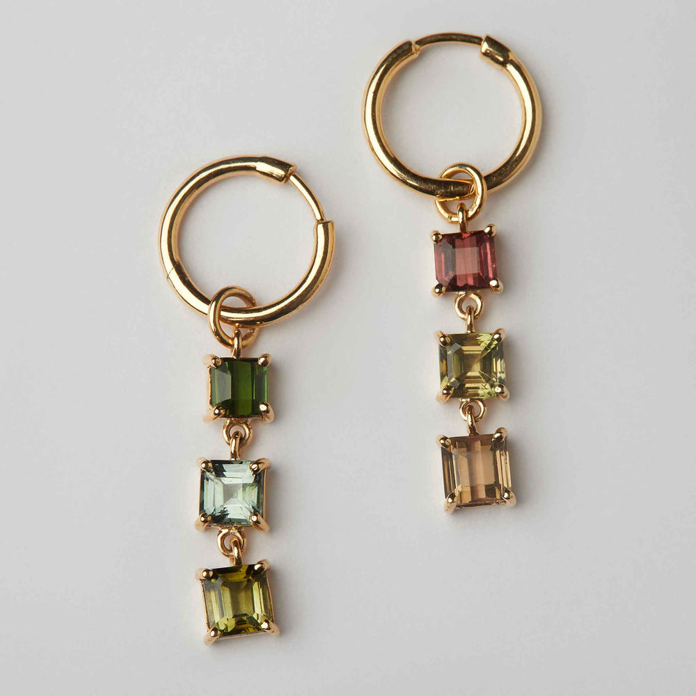 mismatched tourmaline earrings loops hoops 18k gold