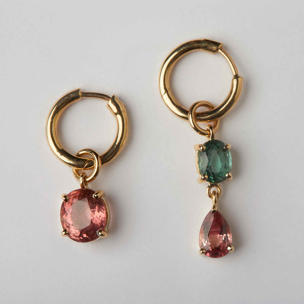 mismatched tourmaline earrings hoops 18k gold