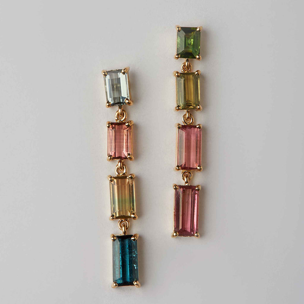tourmaline earrings mismatched 18k gold long