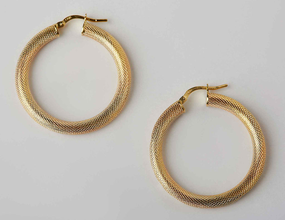 textured hoops 18k gold