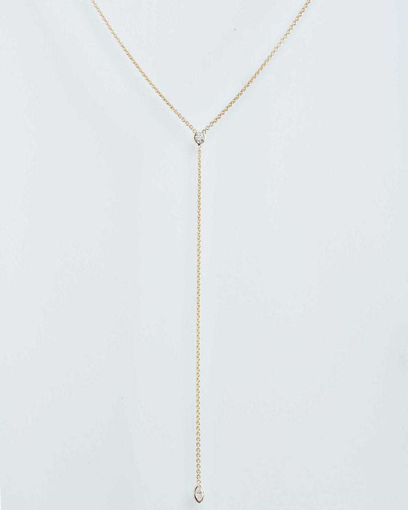 Diamond Lariat Necklace with Mixed Shapes