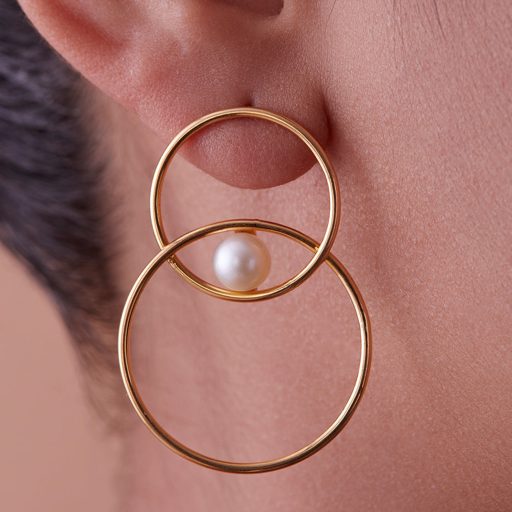 Seeing Double Earrings with Pearls