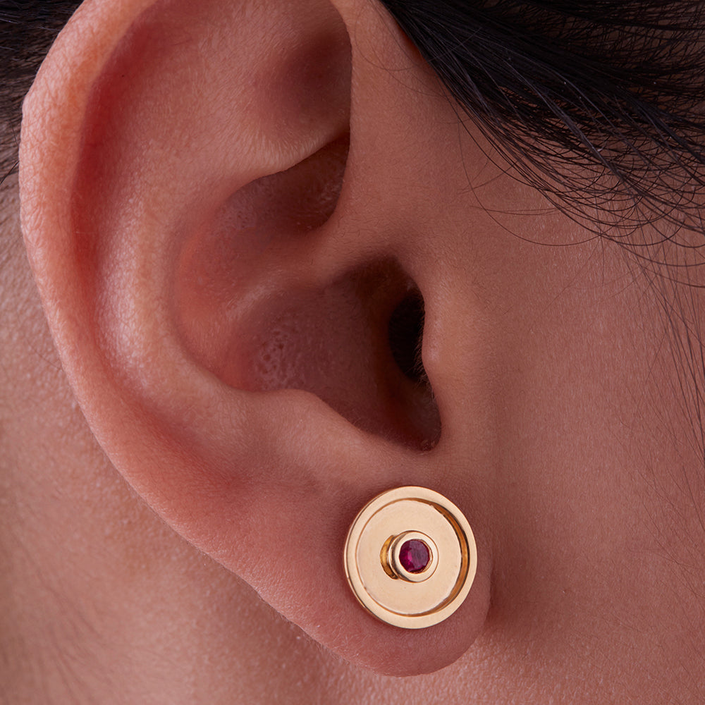 Centered Disc Studs with Rubies