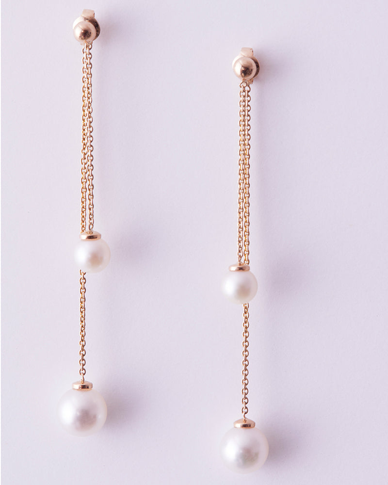Double the Swing Earrings with Pearls