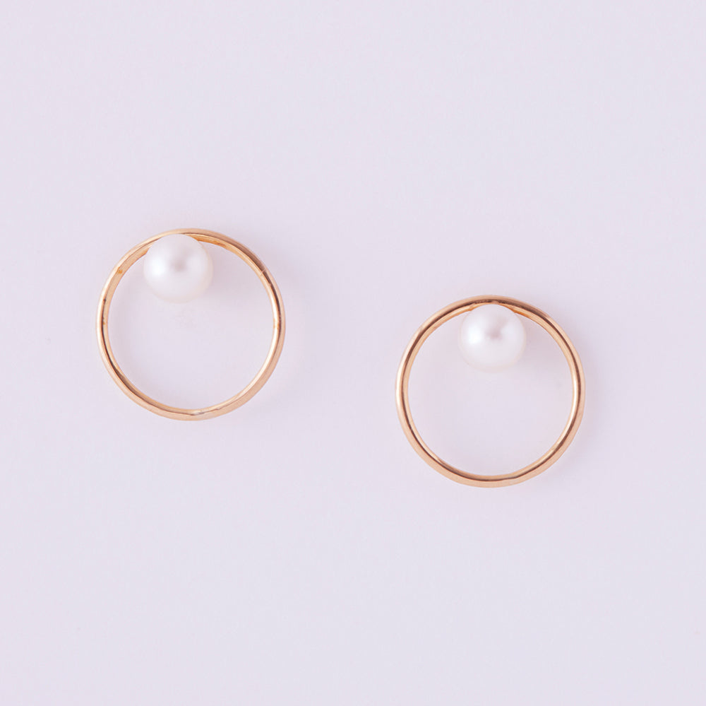 Orbital Hoop Studs with Pearls