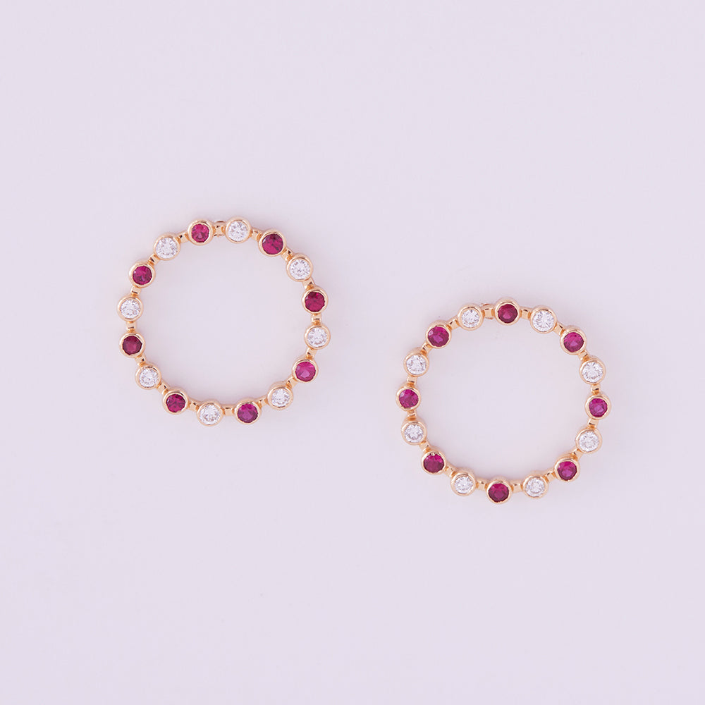 Always & Forever Hoop Studs with Rubies and Diamonds