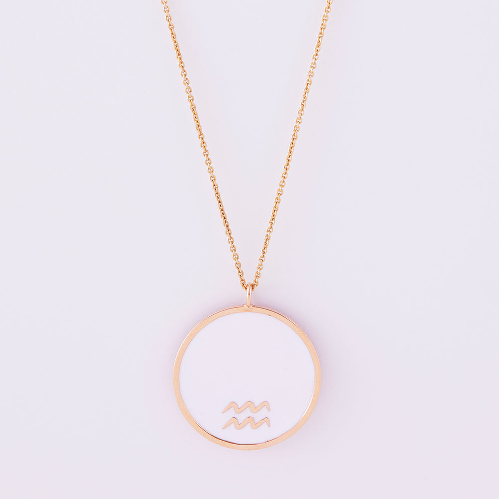 Reversible Zodiac enamel necklace in gold and diamonds