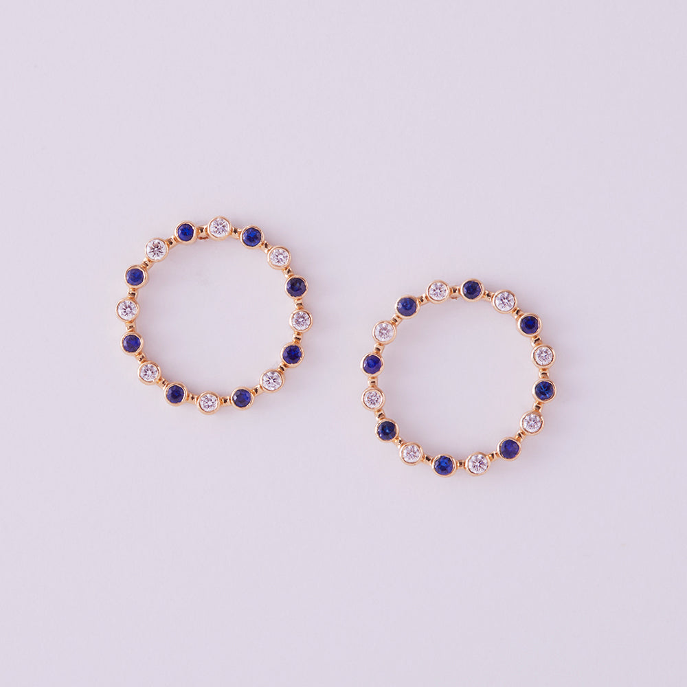 Always & Forever Hoop Studs with Blue Sapphires & Diamonds