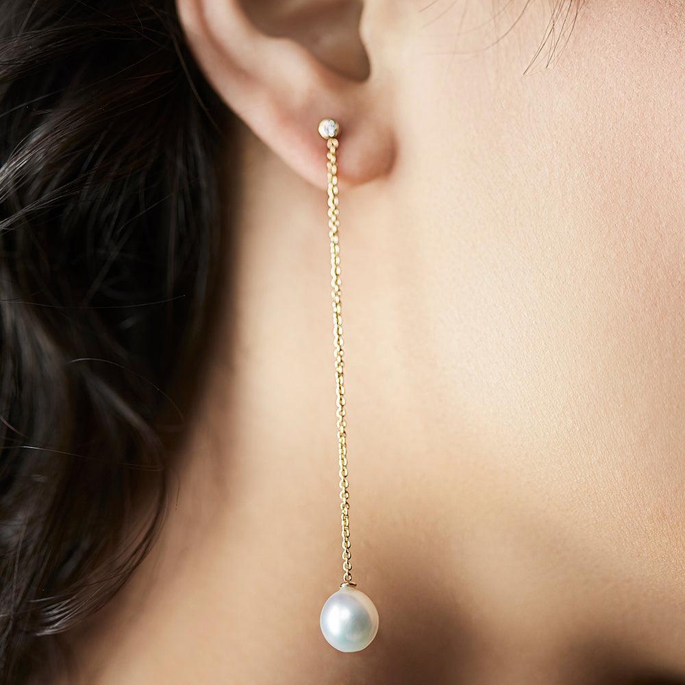Planet Swing Earrings with Diamonds and Pearls