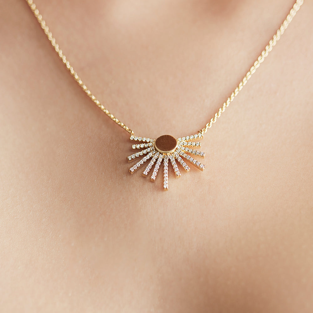Sunrise Necklace with Pave-set Diamonds