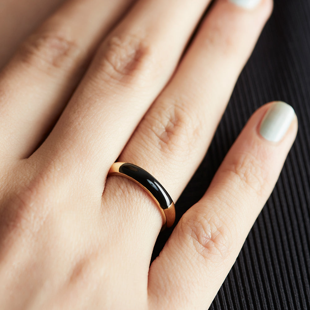 Show Your Stripes Band with Enamel Inlay - Black