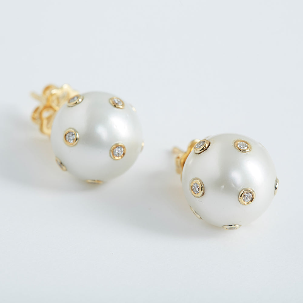 Oversized Pearl Studs with Diamonds