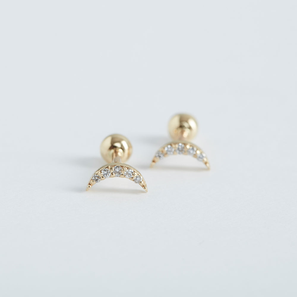 Crescent Studs with Pave-set Diamonds