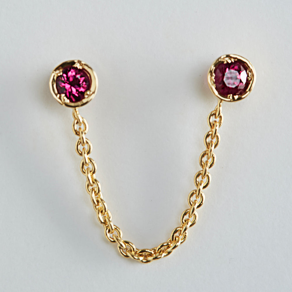 Double Piercing Drop-Chain Ruby Earrings