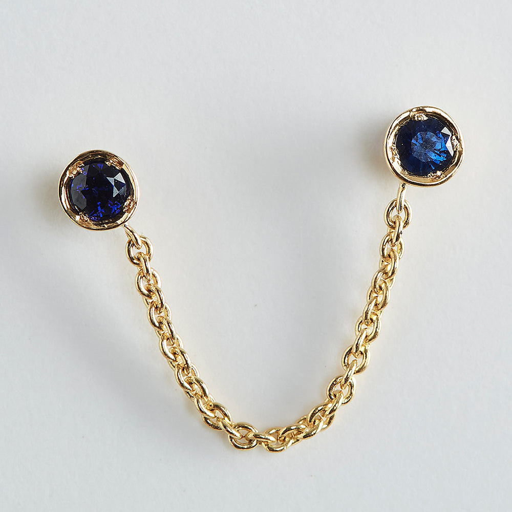 Double Piercing Drop-Chain Sapphire Earrings