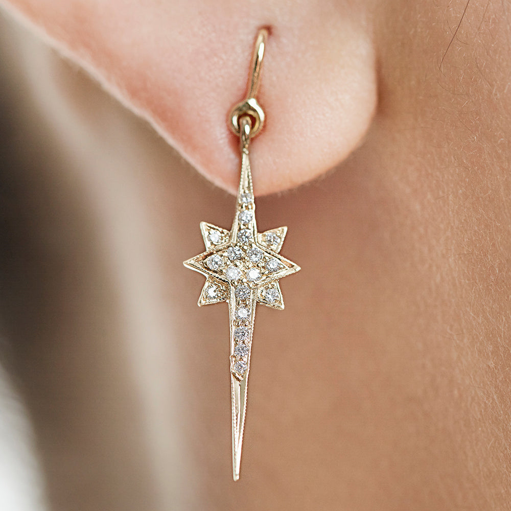 Starburst Earrings with Pave-Set Diamonds
