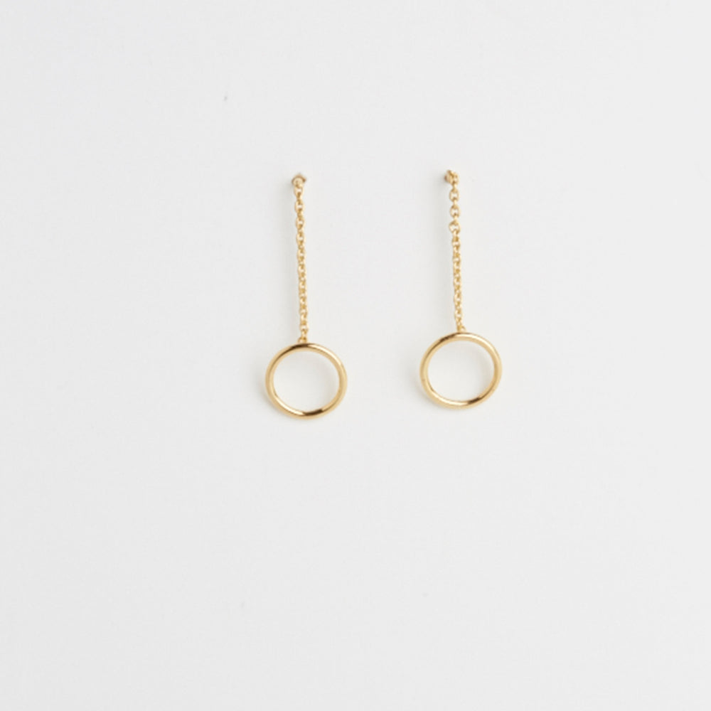 Circle Chain and Stick Earrings