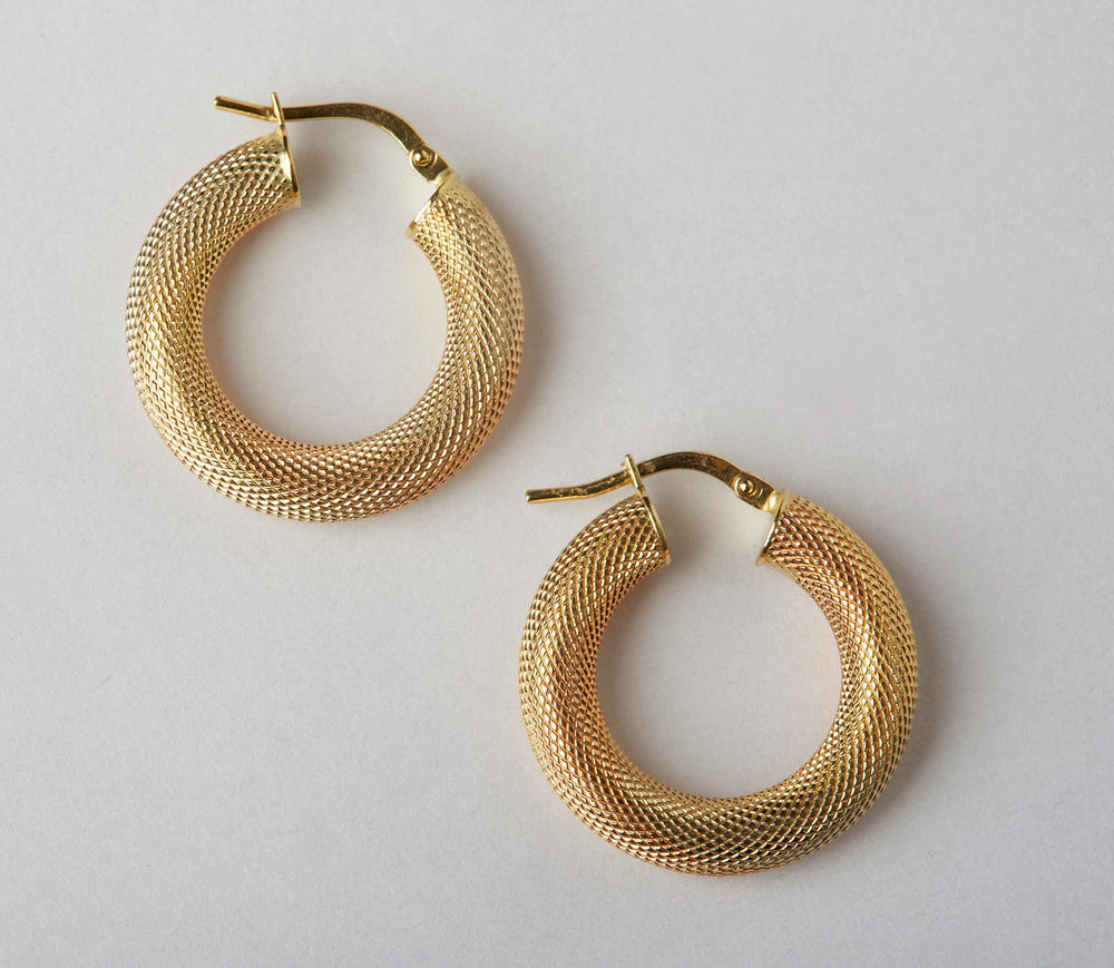 textured thick hoops 18k gold