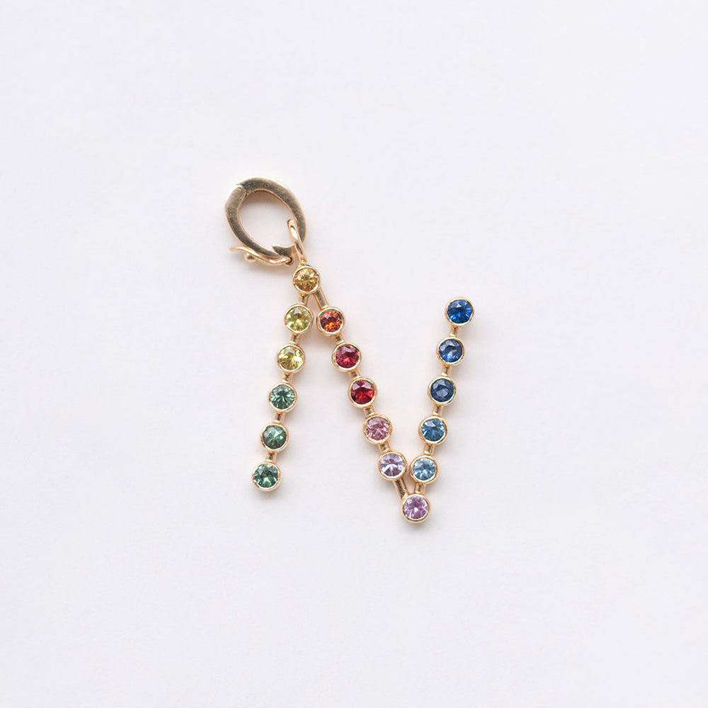 Rainbow Initial Charm with Convertible Clip