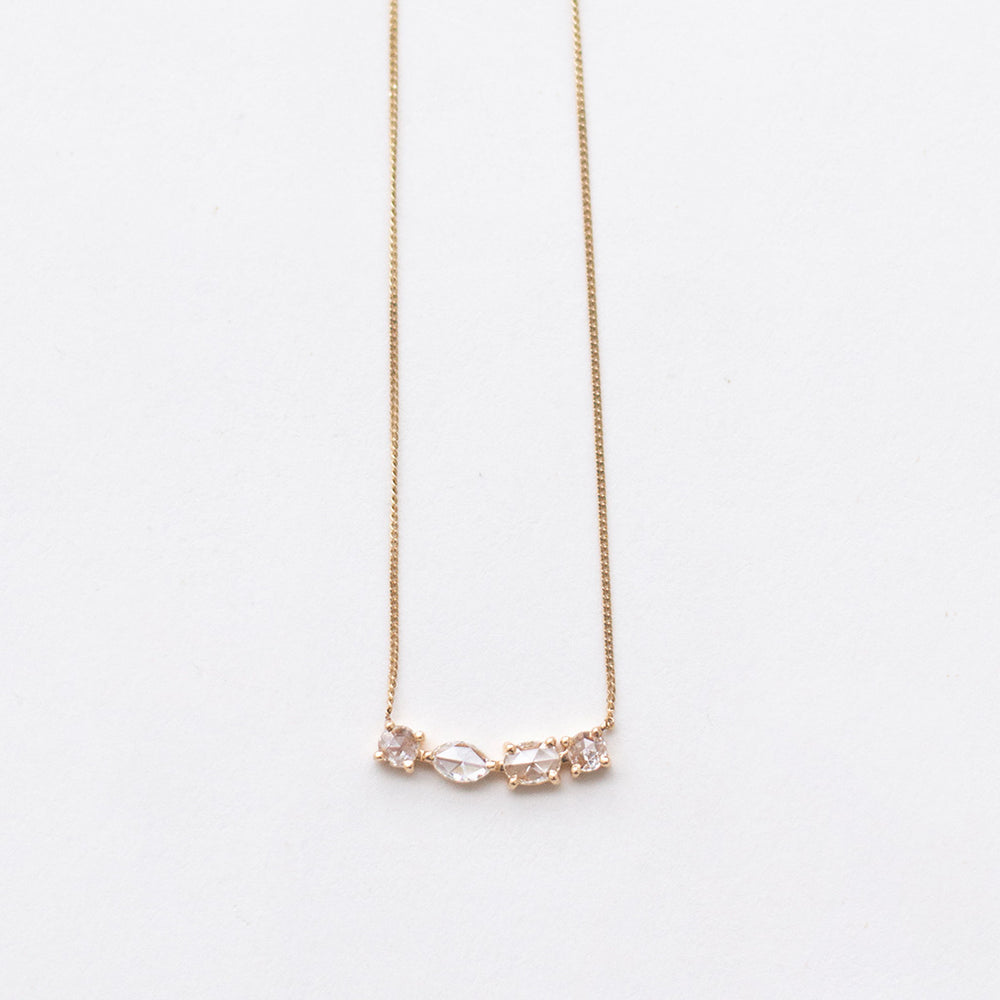 Curved Bar Necklace with Rose-cut Diamonds