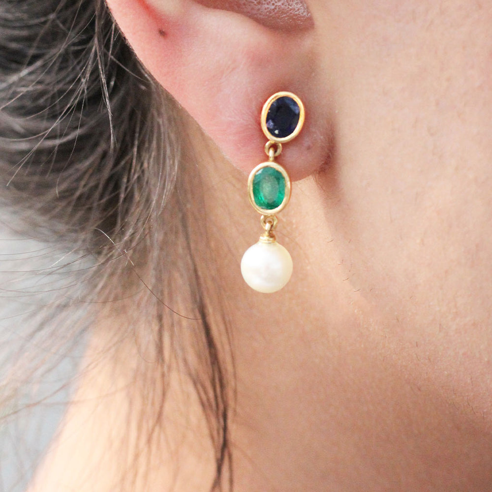 Mismatched Sapphire, Emerald and Pearl Earrings