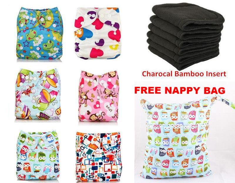 6 Reusable Nappies + 6 Bamboo Charcoal Inserts + FREE Nappy Bag