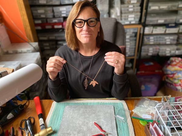 Marcia showing you the finished fall leaf copper necklace. This is part of the fall leaf collection at creativejewelrybymarcia.com