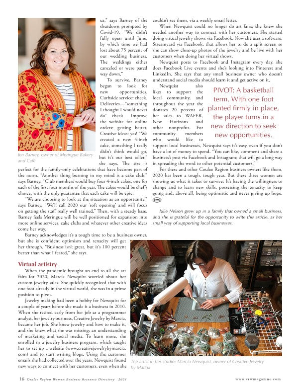 Article in Coulee Womens Magazine  - How Marcia Newquist of Creative Jewelry by Marcia Pivoted during Covid.