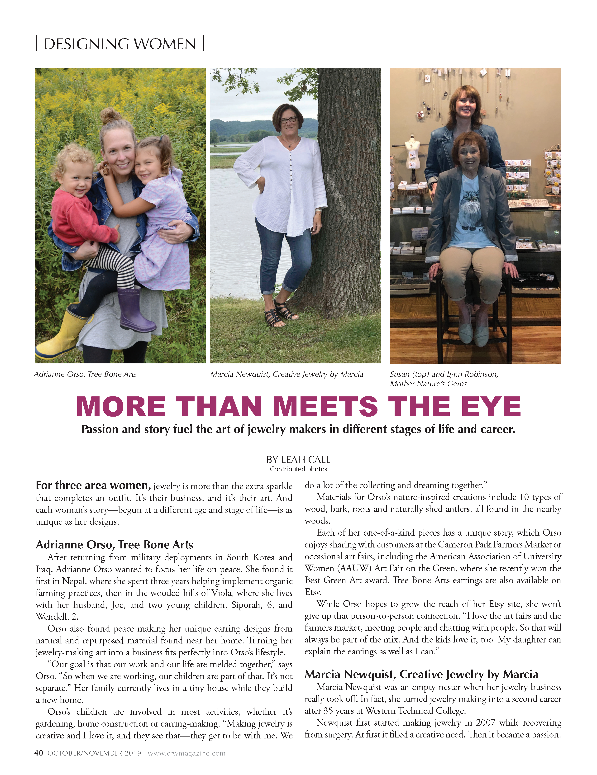 Coulee Women Magazine Article (Local Magazine - La Crosse, WI) Creative Jewelry by Marcia (Marcia Newquist) was featured as a local artist.