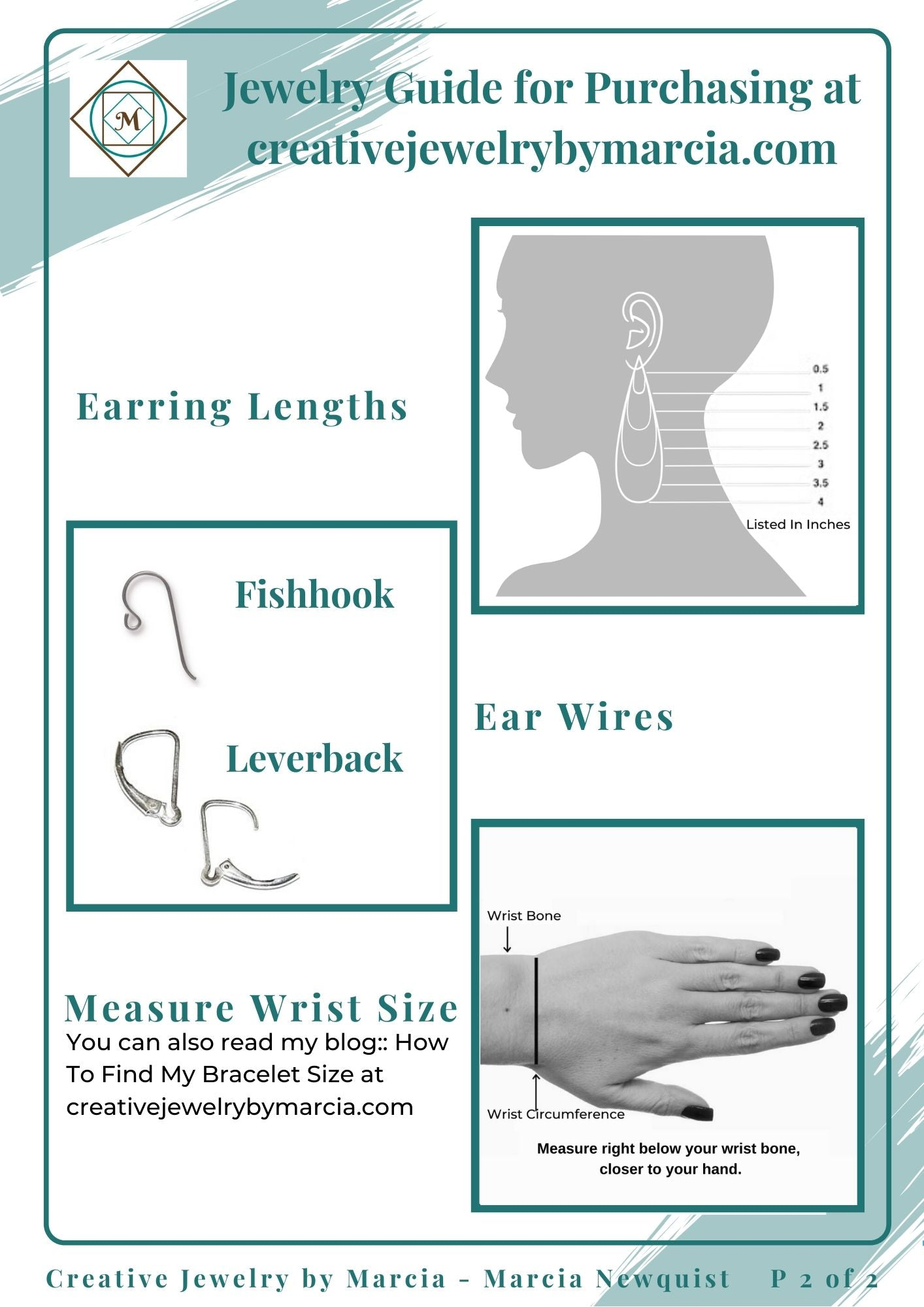 Jewelry Guide Page 2 shows photos and descriptions of Earring Length Chart Fishhook Earwire Leverback Earring, How to Measure wrist size.