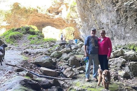 Jeff and Marcia cave hiking. hiking trail