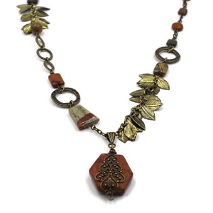 Jasper Pendant Leaf Necklace- Creative Jewelry by Marcia