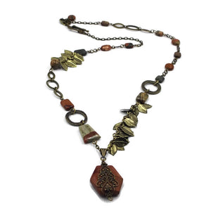 Jasper Pendant Leaf Necklace - Creative Jewelry by Marcia - Asymmetrical Jewelry - Timeless Jewelry