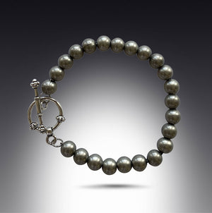 Silver Steel Round Bead Bracelet with Toggle Clasp-Bracelets- Creative Jewelry by Marcia