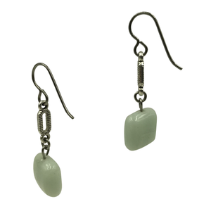 Sea Foam Green Amazonite Dangle Earrings for Sensitive Ears-Earrings- Creative Jewelry by Marcia