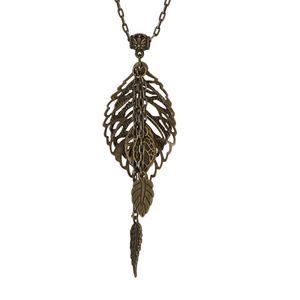 Antique Brass Chain Leaf Pendant Necklace-Necklaces- Creative Jewelry by Marcia