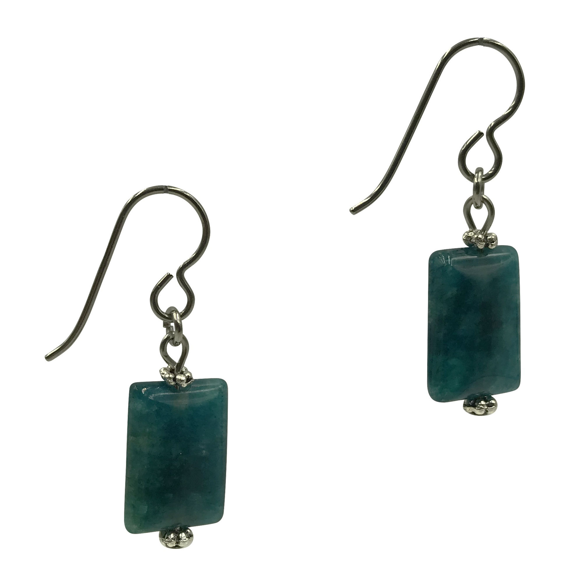 Teal Apatite Drop Earrings for Sensitive Ears-Earrings- Creative Jewelry by Marcia