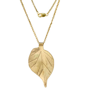 Brass Birch Leaf Necklace with 14k Gold-filled Lobster Clasp-Necklaces- Creative Jewelry by Marcia