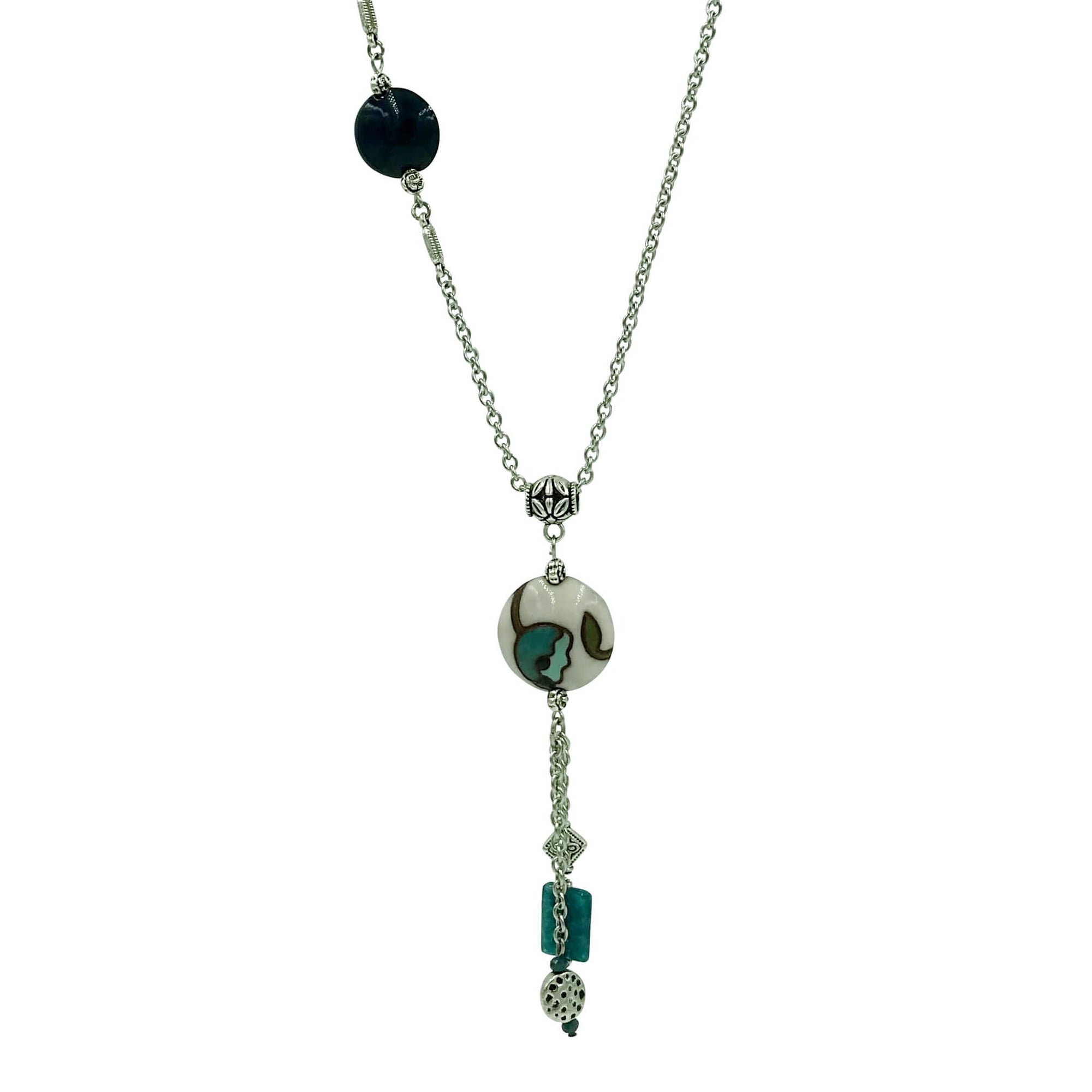Teal Flower Golem Pendant Necklace with Apatite Stone and Golem Clay Beads-Necklaces- Creative Jewelry by Marcia