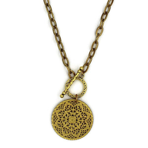 Brass Toggle Necklace with Brass Filigree Pendant - Creative Jewelry by Marcia - Asymmetrical Jewelry - Timeless Jewelry