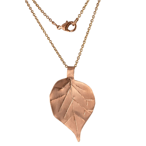 Copper Birch Leaf Necklace-Necklaces- Creative Jewelry by Marcia