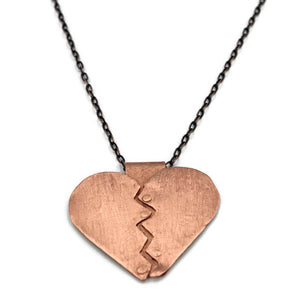 Copper Healing Heart Pendant Necklace - Creative Jewelry by Marcia - Asymmetrical Jewelry - Timeless Jewelry