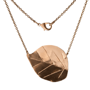 Hammered Copper Poplar Leaf Necklace-Necklaces- Creative Jewelry by Marcia
