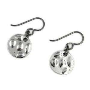 Pewter Silver Small Circle Earrings for Sensitive Ears - Creative Jewelry by Marcia - Asymmetrical Jewelry - Timeless Jewelry