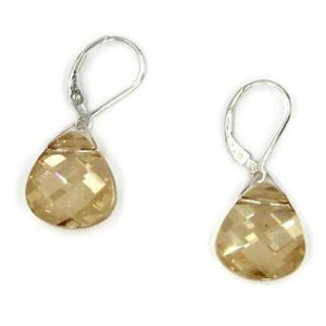 Golden Shadow Swarovski Crystal Briolette Dangle Earrings - Creative Jewelry by Marcia - Asymmetrical Jewelry - Timeless Jewelry