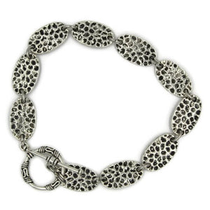 Silver Toggle Bracelet with Oval Hammered Links- Creative Jewelry by Marcia