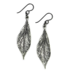 Pewter Silver Earrings, Long Leaf Earrings, Earrings for Sensitive Ears