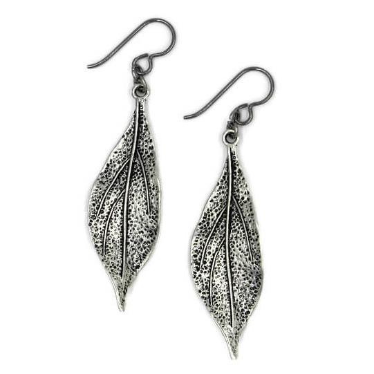 Long Silver Pewter Leaf Earrings for Sensitive Ears