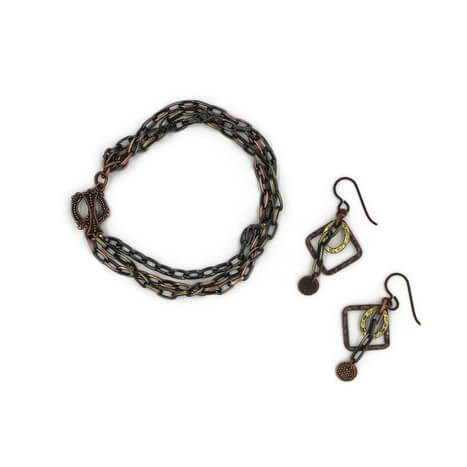 Mixed Metal Chain Bracelet and Earring Set - Creative Jewelry by Marcia - Asymmetrical Jewelry - Timeless Jewelry