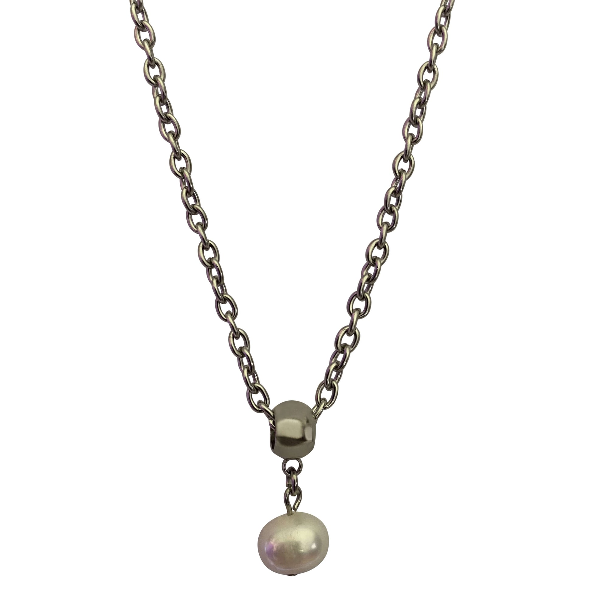 Round Freshwater Pearl Drop Pearl Necklace with Lobster Clasp